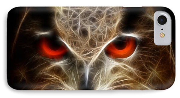 Owl - Fractal Artwork IPhone Case by Lilia D