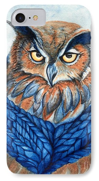 Owl In A Cowl Phone Case by Janine Riley