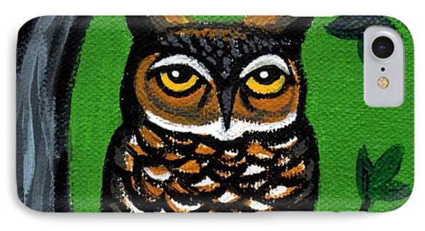 Owl In Tree With Green Background Phone Case by Genevieve Esson