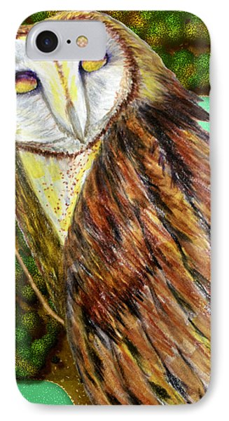 IPhone Case featuring the drawing Owl Mixed Media by Barbara Giordano