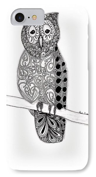 Owl On A Branch Phone Case by Paula Dickerhoff