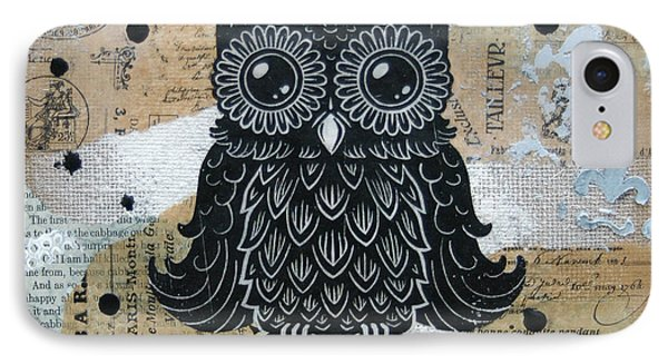 Owl On Burlap1 IPhone Case by Kyle Wood