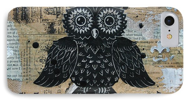 Owl On Burlap2 Phone Case by Kyle Wood