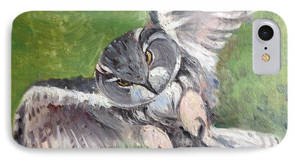 IPhone Case featuring the painting Flying Owl by Rose Wang