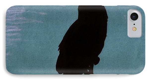 IPhone Case featuring the drawing Owl Silhouette by D Hackett