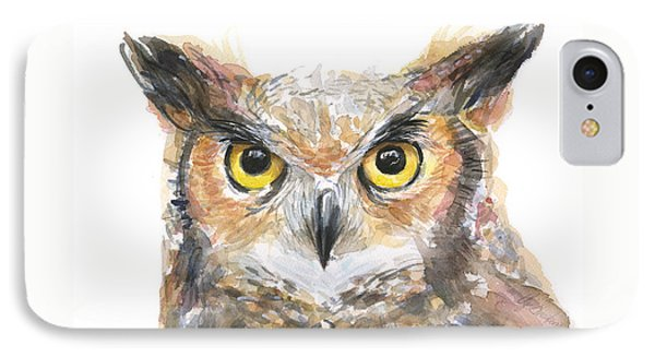 Owl Watercolor Portrait Great Horned IPhone Case by Olga Shvartsur