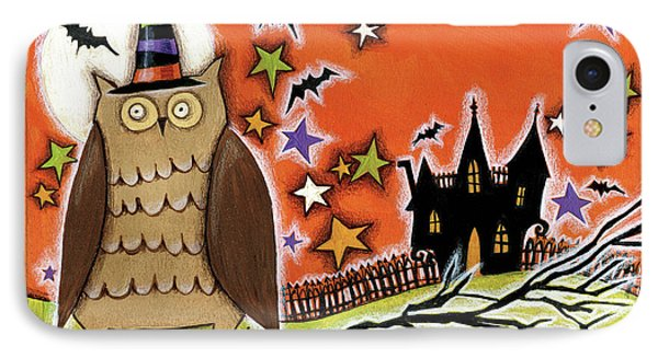 Owl With Hat IPhone Case by Anne Tavoletti