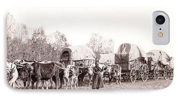 Ox-driven Wagon Freight Train C. 1887 Phone Case by Daniel Hagerman
