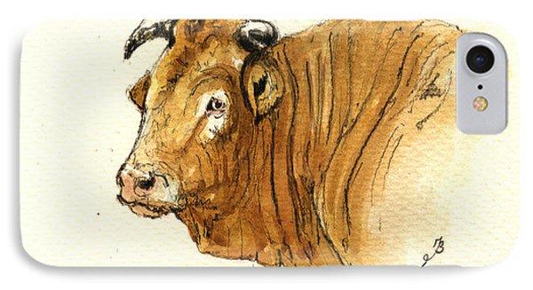 Ox Head Painting Study Phone Case by Juan  Bosco