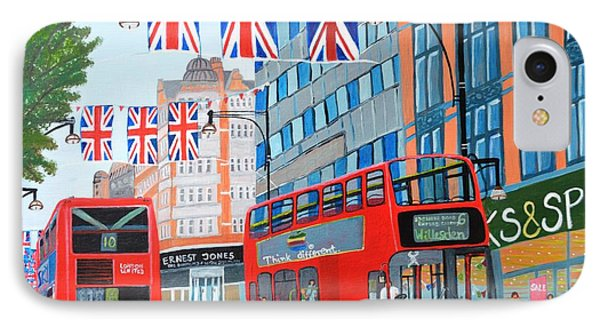 IPhone Case featuring the painting Oxford Street- Queen's Diamond Jubilee  by Magdalena Frohnsdorff