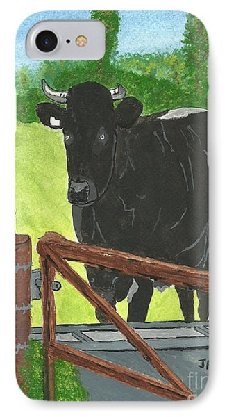 IPhone Case featuring the painting Oxleaze Bull by John Williams