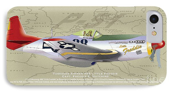 IPhone Case featuring the drawing P-51  by Kenneth De Tore