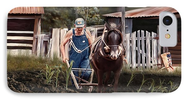 IPhone Case featuring the painting Pa Dee Plowing by Linda Gleason Ritcie