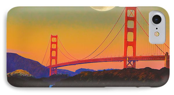IPhone Case featuring the painting Pacific Sunset - Golden Gate Bridge And Moonrise by Douglas MooreZart