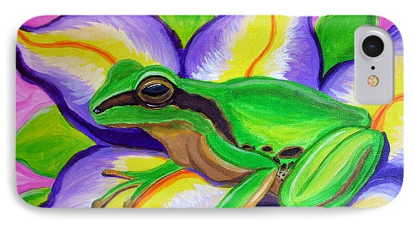 Pacific Tree Frog And Flower IPhone Case by Nick Gustafson