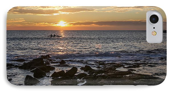 Paddlers At Sunset Horizontal IPhone Case by Denise Bird