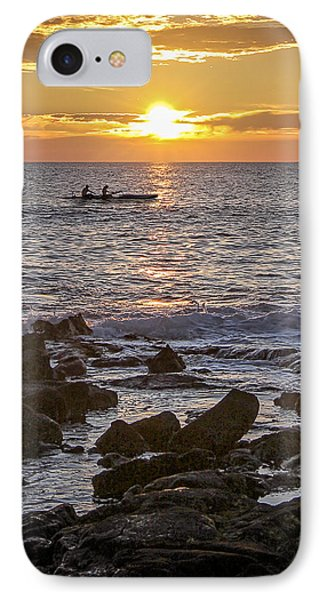 Paddlers At Sunset Portrait IPhone Case by Denise Bird