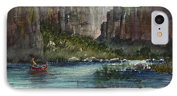 IPhone Case featuring the painting Paddling Reagan Canyon by Tim Oliver