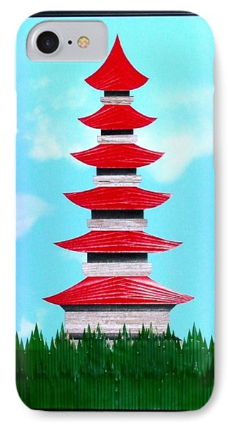 IPhone Case featuring the mixed media Pagoda by Ron Davidson