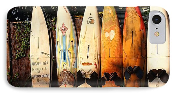 IPhone Case featuring the painting Paia Surfboards by Janet McDonald