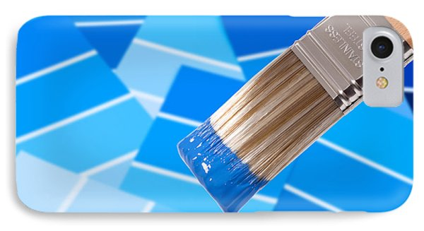 Paint Brush - Blue IPhone Case by Amanda Elwell