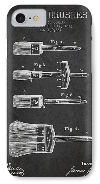 Paint Brushes Patent From 1873 - Charcoal IPhone Case by Aged Pixel