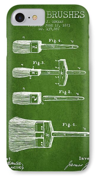 Paint Brushes Patent From 1873 - Green IPhone Case by Aged Pixel