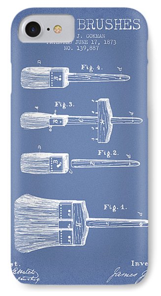 Paint Brushes Patent From 1873 - Light Blue IPhone Case by Aged Pixel
