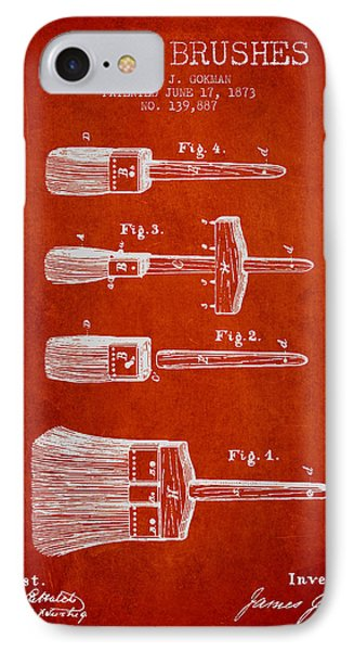 Paint Brushes Patent From 1873 - Red IPhone Case by Aged Pixel