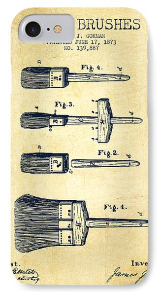 Paint Brushes Patent From 1873 - Vintage IPhone Case by Aged Pixel