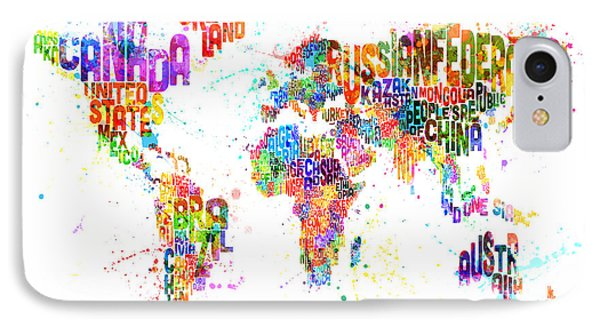 Paint Splashes Text Map Of The World IPhone Case by Michael Tompsett