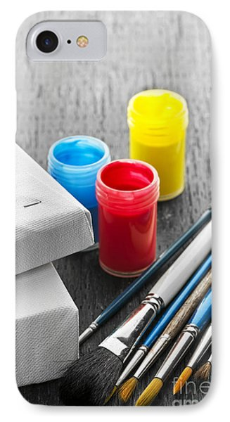 Paintbrushes With Canvas Phone Case by Elena Elisseeva