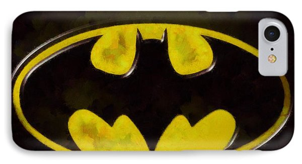 Painted Batman Logo IPhone Case by Dan Sproul
