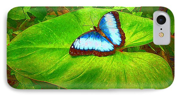 IPhone Case featuring the photograph Painted Blue Morpho by Teresa Zieba