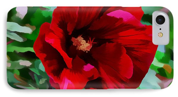 IPhone Case featuring the digital art Painted Giant Red Hibiscus by Kathleen Stephens