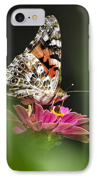 Painted Lady Butterfly At Rest Phone Case by Christina Rollo