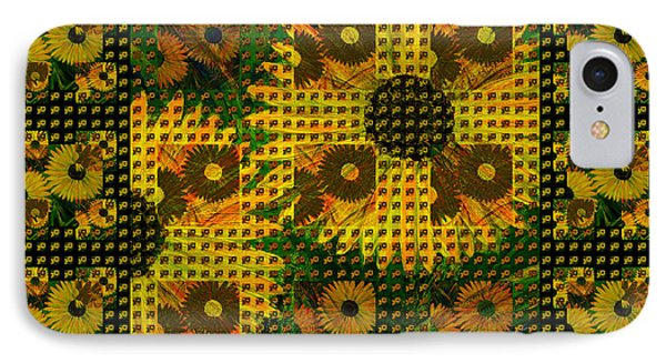 Painted Sunflower Abstract IPhone Case by Barbara Moignard
