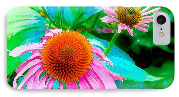 Painterly Coneflowers IPhone Case by Annie Zeno