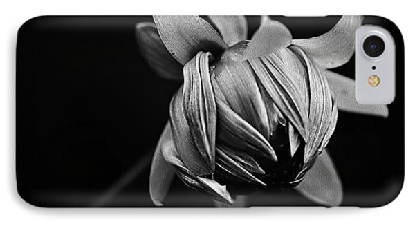 Painterly Dahlia Bud In Black And White IPhone Case