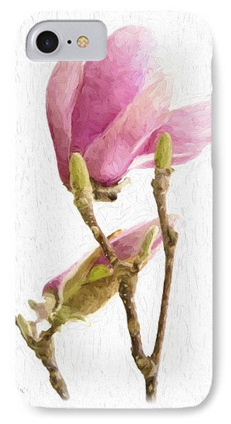 Painterly Pink Magnolia IPhone Case
