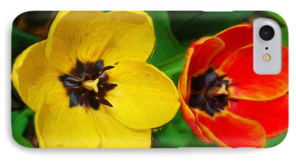 Painterly Red And Yellow Tulips  IPhone Case