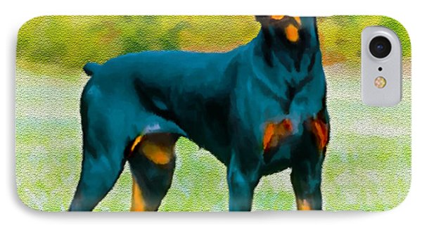 Painting Doberman Pincher Phone Case by Bob and Nadine Johnston
