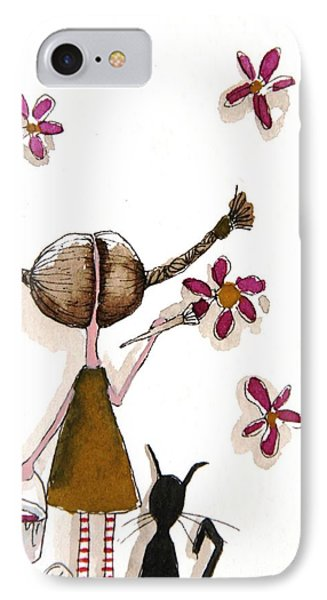 Painting Flowers Phone Case by Lucia Stewart