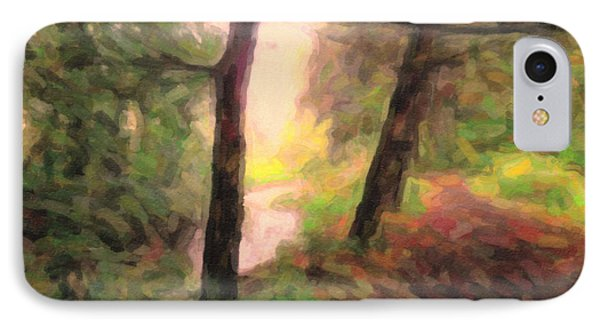 Landscape Painting Of Path Into Woods IPhone Case by Maggie Vlazny
