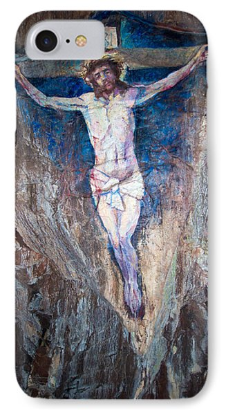Painting Of The Crucifixion IPhone Case by Roy Pedersen