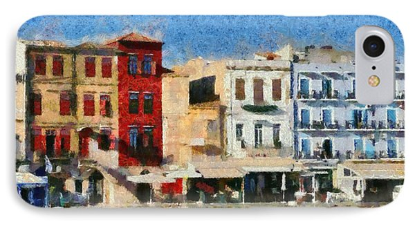 Painting Of The Old Port Of Chania Phone Case by George Atsametakis