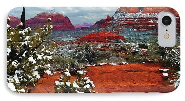 Painting Secret Mountain Wilderness Sedona Arizona IPhone Case by Bob and Nadine Johnston