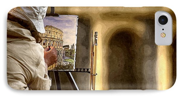 Painting The Colosseum IPhone Case by Stefano Senise