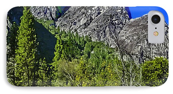 Painting Three Brothers Peaks Yosemite Np IPhone Case by Bob and Nadine Johnston