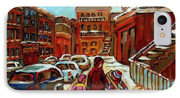 Paintings Of Baron Byng High School St Urbain A Winter Walk Down Memory Lane Montreal Art Carole  IPhone Case by Carole Spandau